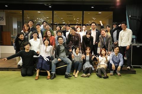 キックオフイベント終了後の、スタッフ集合写真 (c)rakuda