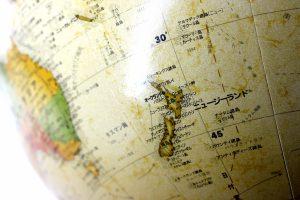 地球儀上のニュージーランド
